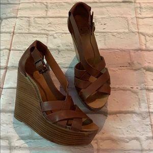 Lucky Brand brown leather platform sandals sz 8
